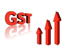GST word with 3 red arrow.3d illustration. Stock Photography