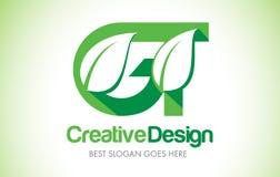 GT Green Leaf Letter Design Logo. Eco Bio Leaf Letter Icon Illus Royalty Free Stock Images