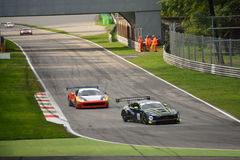 GT Open Aston Martin Vantage and Ferrari 458 italia at Monza Stock Photo