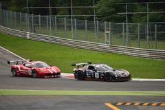 GT Open Chevrolet Corvette and Ferrari 458 italia at Monza Royalty Free Stock Photography