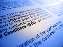 GTC General Terms and Conditions. Macro image showing the small print of a contract concerning GTC General Terms and Conditions Stock Image