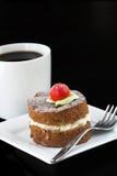 Gâteau aux pommes Avec du café Photographie stock