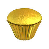 Gâteau brillant de tasse d'or de petit gâteau d'or Photographie stock libre de droits