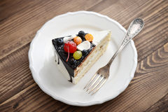 Gâteau d'anniversaire de fruit Photo stock
