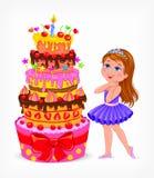 Gâteau d'anniversaire pour la fille Photos stock