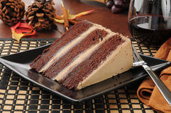 Gâteau d'expresso de chocolat avec le vin rouge Photos stock
