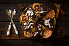 Gâteau de chocolat sucré Photos stock