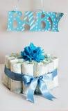 Gâteau de couche-culotte pour une fête de naissance Photographie stock