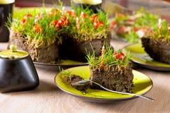 Gâteau de partie de jardinage Photos libres de droits