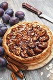 Gâteau de prune avec de la cannelle et des amandes Photographie stock