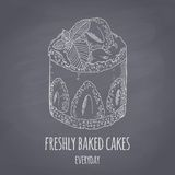 Gâteau tiré par la main avec la menthe d'isolement Llustration de vecteur de style de craie de dessert Fond de nourriture de tabl Photographie stock libre de droits