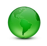 Gteen earth. Shiny blue globe created in Photoshop Stock Images