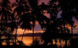 Gtg. A beautiful tropical sunset across the lagoon Stock Image