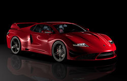 Gtvz red sports car. My own design of the ultimate sports gt car combining the classic lines of a sporty coupe with the latest in engine and transmission drive Royalty Free Stock Photography