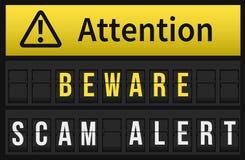 Guárdese del mensaje alerta de Scam Foto de archivo libre de regalías