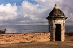 Guérites dans le fort San Cristobal de vieux San Juan Images libres de droits