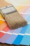 Guía de la carta de color con el cepillo Foto de archivo