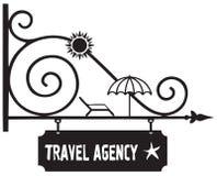 Guía del poste indicador a la agencia de viajes stock de ilustración