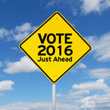 Guía del poste indicador para votar 2016 apenas a continuación Fotos de archivo libres de regalías