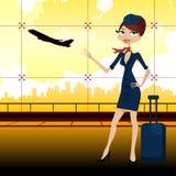 Guía del recorrido en aeropuerto stock de ilustración