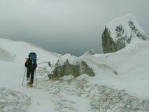 Guía en el senderismo del invierno Imagen de archivo