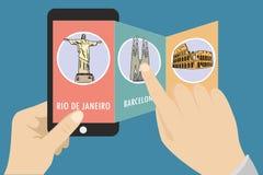 Guía en un teléfono móvil libre illustration
