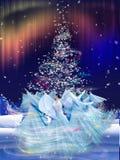 Guślarstwo w lesie przy podczas Bożymi Narodzeniami Zdjęcie Stock