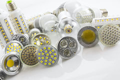 GU10 and E27 LED lamps  with a different chip technology also co Royalty Free Stock Photography