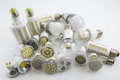 GU10 and E27 LED lamps  with a different chip technology also de Royalty Free Stock Image