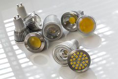 GU10 LED bulbs with different light-emitting chips. Different cooling, In some cases optics and reflectors Royalty Free Stock Photography