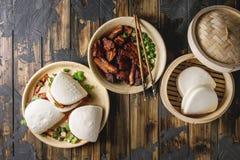 Gua bao babeczki z wieprzowiną fotografia stock