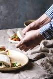 Gua bao babeczki z wieprzowiną zdjęcia stock