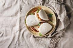 Gua bao babeczki z wieprzowiną zdjęcie stock
