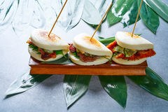 Gua bao meat and chicken asian food Royalty Free Stock Images