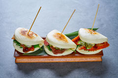 Gua bao meat and chicken asian food Stock Photos