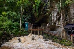 Gua Kelam, Perlis, Malaysia. Kelam cave flooded with heavy flows during monsoon rain season Royalty Free Stock Photo
