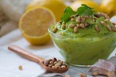 Guacamole από το αβοκάντο με το σκόρδο, καρύδια λεμονιών και κέδρων στοκ φωτογραφίες με δικαίωμα ελεύθερης χρήσης