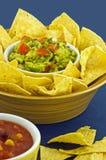 Guacamole avec des puces de tortilla Photographie stock libre de droits