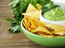 Guacamole avocado dip with chips Stock Image