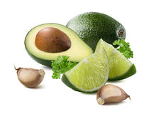 Guacamole avocado garlic lime ingredients isolated Royalty Free Stock Photo