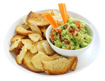 Guacamole with Bagel Crisps Royalty Free Stock Images
