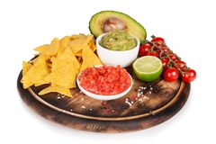 Guacamole with bread and avocado Stock Images