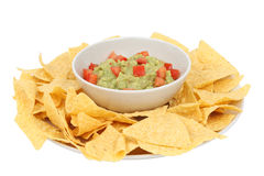 Guacamole and chips Stock Images