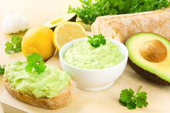 Guacamole and ciabatta Royalty Free Stock Photos