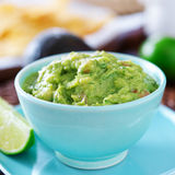 Guacamole in colorful blue bowl Stock Photo