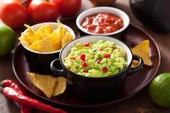 Guacamole com as microplaquetas do abacate, do cal, do pimentão e de tortilha, salsa Fotografia de Stock Royalty Free