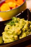 Guacamole con nachos Imagen de archivo libre de regalías