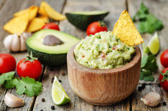 Guacamole with corn chips Royalty Free Stock Photo