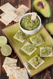 Guacamole with crackers. Bowl with freshly made guacamole and crackers. Shallow dof Royalty Free Stock Photos