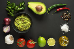 Guacamole dell'avocado Fotografia Stock
